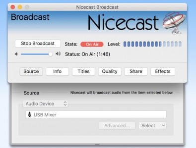 Nicecast is the streaming equivalent of a broadcast transmitter and gets the audio program onto the internet.