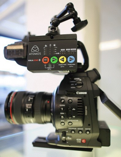 Ninja Star mounted on a Canon 100 camera. All controls are easy to see and have adequate-sized buttons for control.