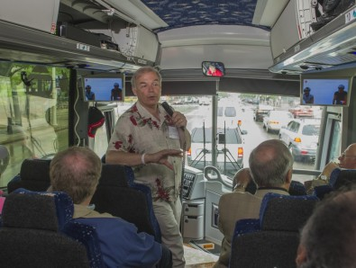 Zenith's Tim Laud demonstrates mobile reception to expert viewers on a 8 July 2015 field trip. AP photo courtesy LG Electronics USA.