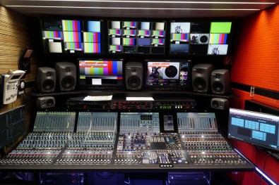 On board are two Lawo mc²96 Grand Production Console systems and five V__matrix frames loaded with 37 C100 Processing Blades for multiviewing and IP streaming.