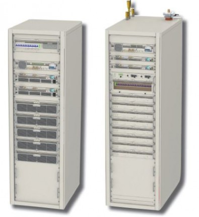 ONEtastic's OnePower air-cooled 6000C TV transmitter (left), the 12000L liquid-cooled TV transmitter on right.