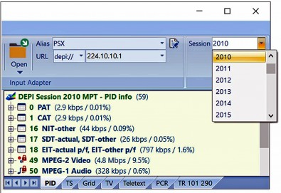 The required StreamXpert session ID can be selected from a drop-down list.