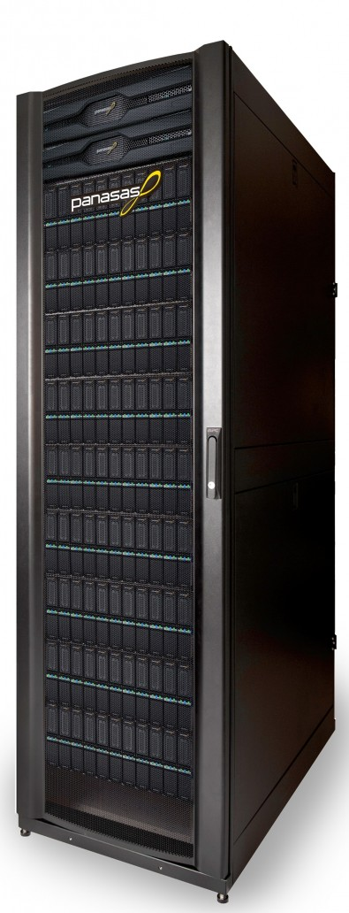 Rack of Panasas storage. The NAS can scale out to 57PB.