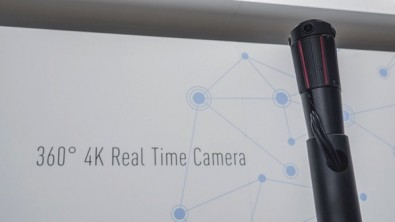 Panasonic's 360-degree 4K real time camera features four 4K sensors to create an equi-rectangular image, designed for virtual reality viewing.