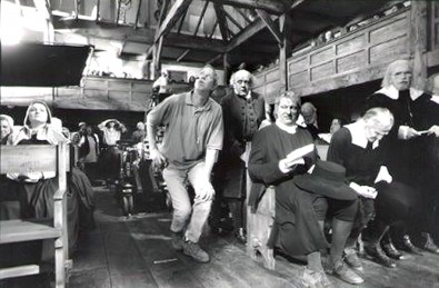 Patrick Grosswendt, in the center, works as a gaffer on the set of The Crucible in 1996<br />
