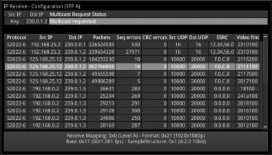 IP analyser/generator stream selection.