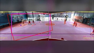Here is a stitched together panoramic image created from multiple cameras. The red rectangle represents the desired frame for broadcast. Click to enlarge.