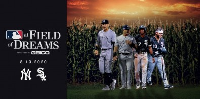 Paying homage to the original movie, players wore period uniforms and entered the stadium from a cornfield at the edge of center-right field.