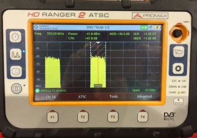 Portable RF signal analysis, like that provided by this Promax HD Ranger 2, simplifies QoS evaluation.