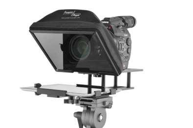 Prompter People's  UltraLight iPad Teleprompter can fit on a wide range of cameras, from small handheld models to a DSLR.