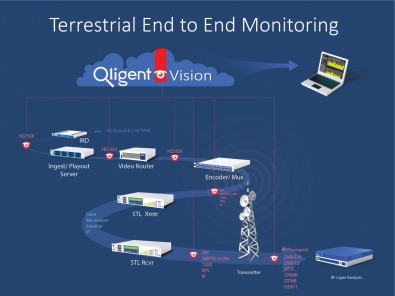 Qligent end-to-end monitoring block diagram. Click to enlarge.