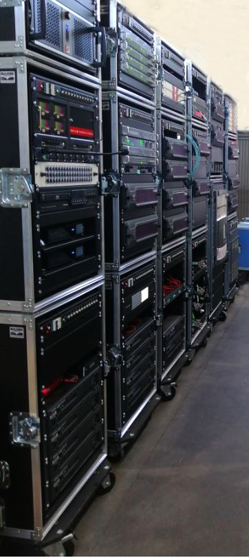 The rugged flight cases allow productions to be quickly and easily set-up in remote and difficult to access locations.