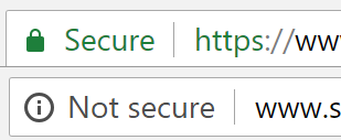 Diagram 2 – Both these were taken from a web browser with the upper address bar showing the HTTPS lock icon and secure web site, and the lower address bar showing the unsecured HTTP only web site.