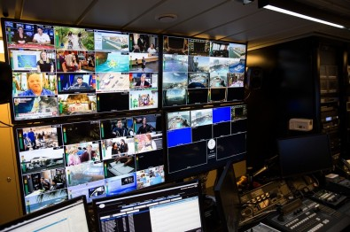 The ship features an on-board video control room where signals are monitored and distributed to the necessary locations.