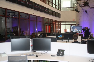 The new iNEWS-centric newsroom features an open design that mimics a professional newsroom and encourages collaboration between students and teachers.
