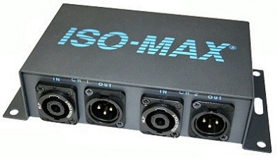 The Iso-Max SP-2SX is a two channel speaker to line level converter that lets you convert the high power signal from an audio amplifier output to a +4 dB