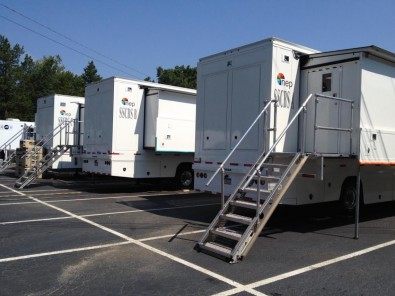 NEP's SSCBS compound of trucks will be onsite in Atlanta. CBS Sports has used the trucks to televise the past two NFL regular seasons. NEP will supply a total of 11 production trucks in Atlanta, many doing work for other networks as well as domestic and international media outlets.