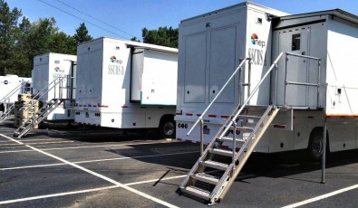An Evertz IP router connects three 52-ft. expando units and one straight trailer make up NEP Broadcasting's SSCBS IP 4K UHD truck, which is used by CBS Sports.