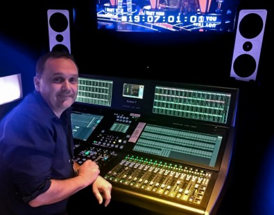 Live TV Mixer Kevin Duff at the System T console.