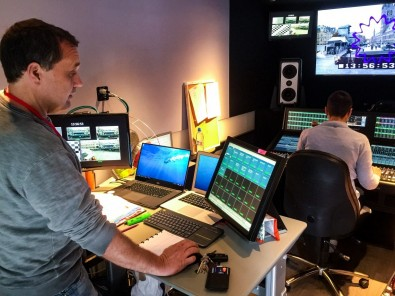 On board the Zen Broadcast truck during rehearsals. The System T uses Dante audio networking to access all sources.