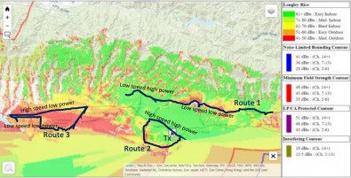 Tests along the Santa Barbara route included changing vehicle speeds and transmitter power levels. Courtesy Sony.