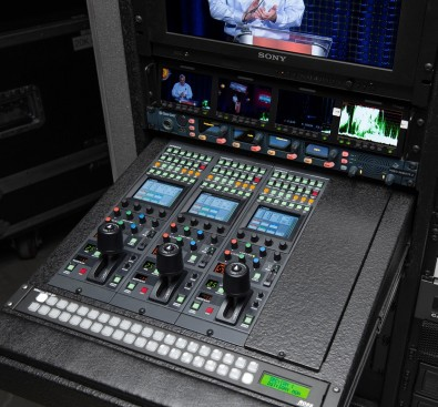 The camera control units are mounted in one of two pre-wired racks that Sardis moves from show-to-show for easy setup.