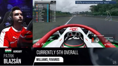 Screenshot from the Championship World Final captures a serious competitor and his view.