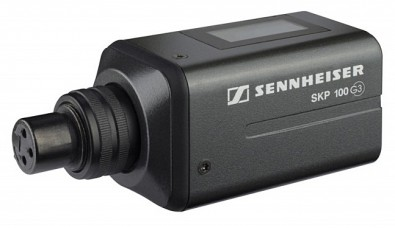 Transmitter modules like this Sennheiser SKP100 G3 can make any microphone wireless.