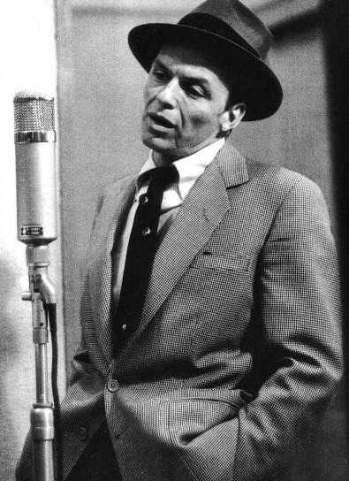 Frank Sinatra sings into a Neumann U-47