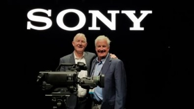 Sony's-John-Studdert (left) with Pat Sullivan of Game Creek Video announced the purchase of 48 HDC-5500 cameras, the largest studio camera order in the history of Sony in North America.