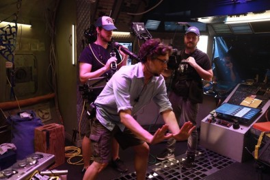 "Writer/director Steven Calcote (center) frames a shot on the set of ""Orbital Redux"". On his left is Steadicam operator, Bill Hunt, and on his right, cameraman Nick Novotny, both shooting Blackmagic Design Ursa Mini Pro 4K cameras. Click to enlarge.<br />"