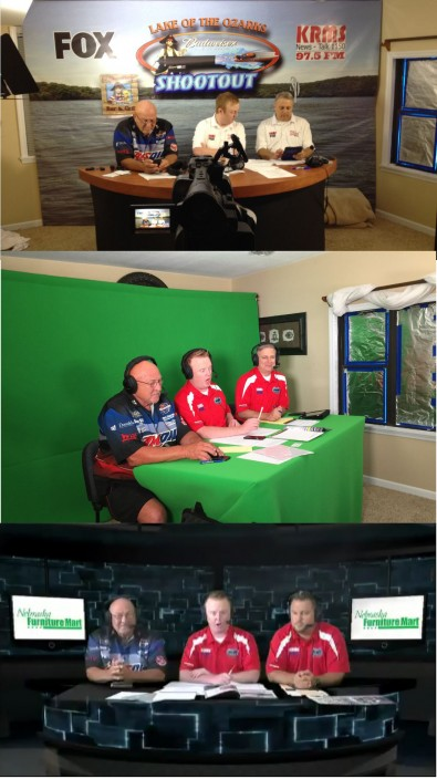 Last year's studio set with backdrop (top), now a chroma key set, as seen on TV (bottom).