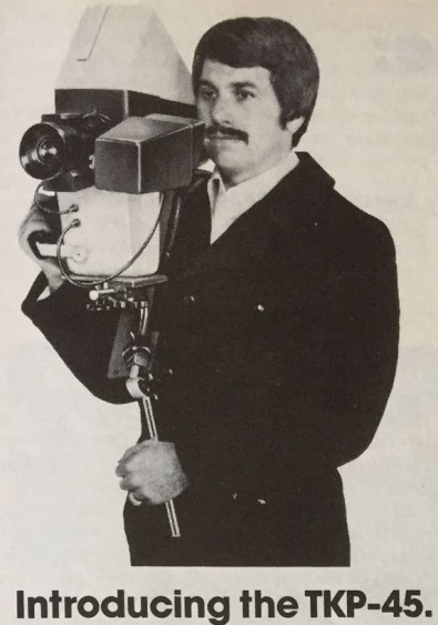 This RCA 1974 NAB Show ad photo shows one of the first 'portable' TV cameras and a camera operator trying not to look uncomfortable.