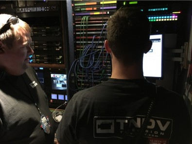 Inside the Exclamation truck at the CMA production.