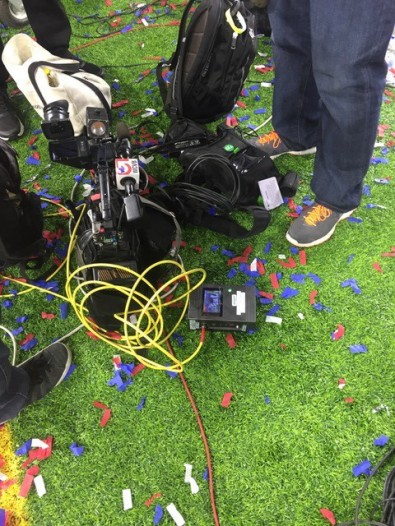 TVU was literally on the field for Super Bowl LII postgame reports.