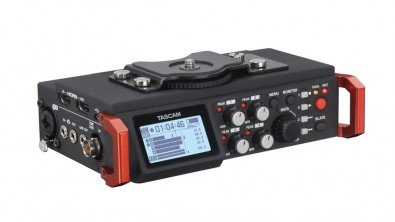 The TASCAM DR-701D offers 4-channel plus stereo mix recording, 4 XLR/TRS inputs (with phantom power), and 2 built-in omnidirectional mics.
