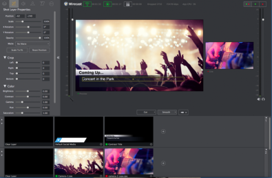 Wirecast is a cross-platform, totally integrated live streaming production software package that enables capture, live production and encoding of live streams for broadcast to multiple servers and platforms simultaneously.