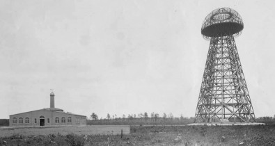 The Wardenclyffe Tower, aka the Tesla Tower, was built by Tesla in 1902, abandoned due to funding in 1906 and demolished for scrap in 1917. Apparently, it was about a century before its time.