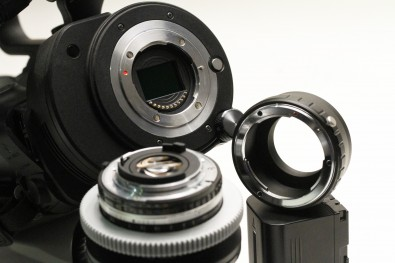 The micro four-thirds mount on this JVC GY-LS300 camera allows more or less any lens to be used with a simple tubular adaptor (at right).