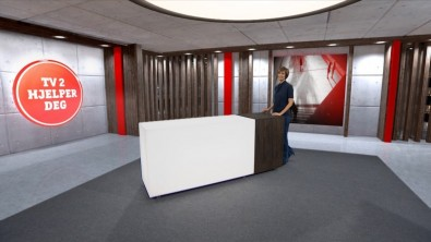 "This view of ""TV2 Helps You"" shows the all new virtual set, but the audience should not know."