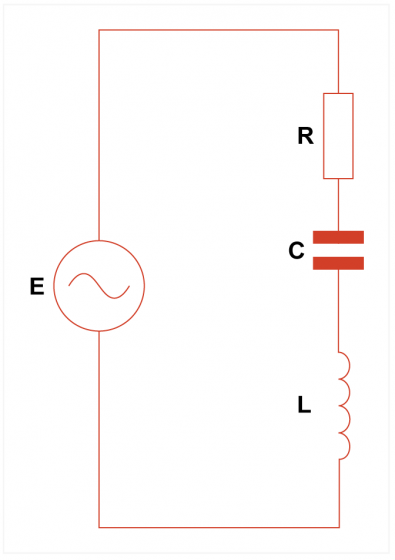 Fig.3 - The equivalent circuit of a quartz crystal is identical to that of an LCR tuned circuit.