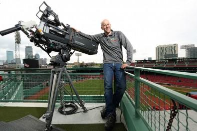 Boston-based sports camera operator, Tom Guilmette at Fenway Park, Boston, MA.<br />