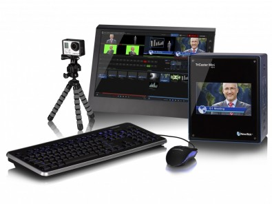 NewTek's TriCaster Mini is a compact multimedia studio, 16-channel video switcher with 4 Mix/Effects rows