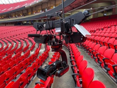A JibTek Trolley Cam System will run along one sideline 12 feet above the eighth row of seats and follows players as they run down the field (at up to 50 miles per hour).
