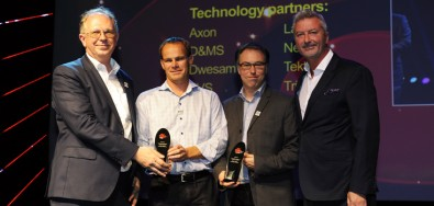 "Accepting the ""IBC2016 Innovation Award for Content Creation"" are (from left): Michel de Wolf (DWESAM), Mick De Valck (VRT), Felix Poulin (EBU) and Michael Crimp (IBC)."