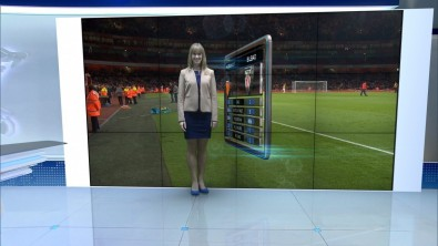 With Virtual Gate, the presenter moves in and out of the sequence as if he/she were part of the virtual reality.