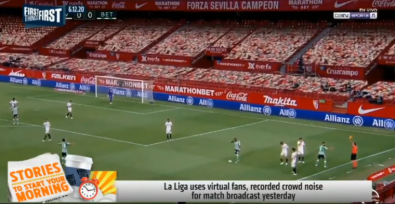 Virtual and standard graphics can be combined to fill the screen, where once an audience screamed.