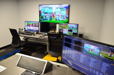 Vista Worldlink's production facility in Ft. Lauderdale, FL takes a clean feed and integrates graphics and other elements for distribution. The company has completed hundreds of at-home–produced events for the United States Soccer League, National Women's Soccer League, and others.