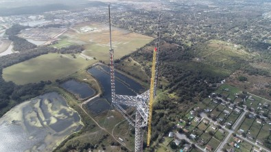 Recent post-repack drone shot of the WMOR candelabra in Lakeland FL, serving Tampa and St. Petersburg. Photo courtesy Dielectric.