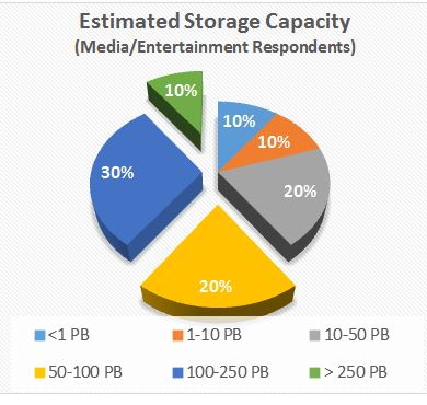 Figure 1. Estimated on-site storage capacity for media and entertainment facilities. Source Western Digital survey.